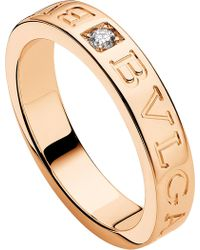 BVLGARI - - 18ct Pink-gold And Diamond Ring - Lyst