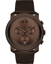 Movado - 3600420 Bold Brown Ion-plated Stainless Steel And Leather Watch - Lyst