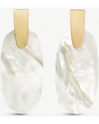 Kendra Scott - Aragon 14ct Gold-plated And Ivory Mother-of-pearl Drop Earrings - Lyst