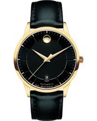 Movado - 0606875 1881 Automatic Gold-plated And Leather Watch - Lyst
