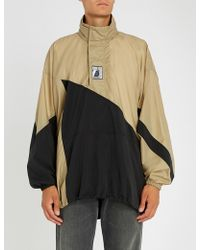 Balenciaga - Mens Beige And Black Two-tone Shell Anorak - Lyst