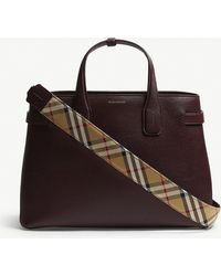 0b923d368760 Burberry - Mahogany Red Check Vintage Banner Grained Leather Tote Bag - Lyst