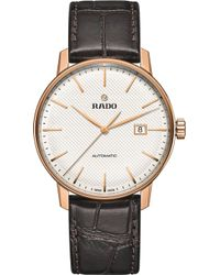 Rado - R22877025 Coupole Classic Automatic Rose Gold-plated Stainless Steel And Leather Watch - Lyst