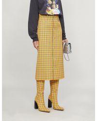 Balenciaga - High Waisted Check Print Midi Skirt - Lyst