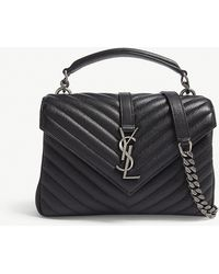 Saint Laurent - Storm Grey And Silver Elegant Monogram Collége Quilted Leather Satchel - Lyst