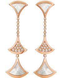 BVLGARI - Divas' Dream 18kt Pink-gold And Diamond Earrings - Lyst