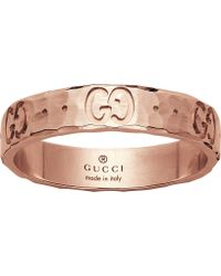 Gucci - Icon Hammered 18ct Rose Gold Ring - Lyst