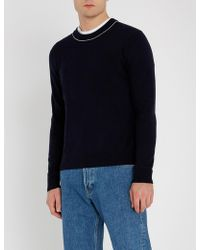 Sandro - Pinstriped-trimmed Wool-and-cashmere Blend Jumper - Lyst