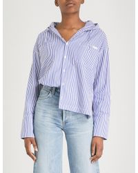 Chocoolate - Striped Cotton-poplin Jacket - Lyst