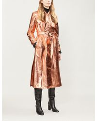 OSMAN - Metallic Faux-leather Trench Coat - Lyst