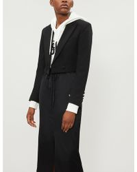 Mo&co. - Cropped Tuxedo-style Wool-blend Jacket - Lyst