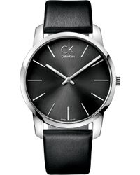 Calvin Klein | K2g21107 City Stainless Steel And Leather Watch | Lyst