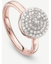 Monica Vinader - Fiji Large Button 18ct Rose-gold And Diamond Stacking Ring - Lyst
