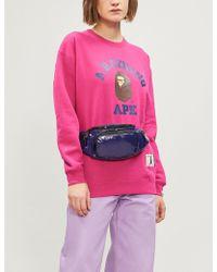 A Bathing Ape - University Swarovski Crystal-embellished Cotton-blend Sweatshirt - Lyst