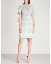 St. John - Riana Fringed Knitted Tweed Dress - Lyst