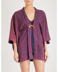 Kisshōten - Printed Silk Kimono Robe - Lyst