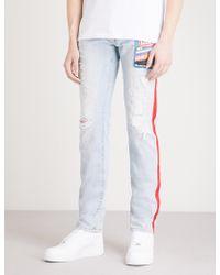 Gcds - Side-stripe Distressed Straight Jeans - Lyst
