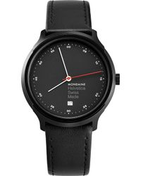 Mondaine - Mh1-r2223-lb Helvetica Spiekermann Edition Regular Leather And Black Ip Stainless Steel Watch - Lyst