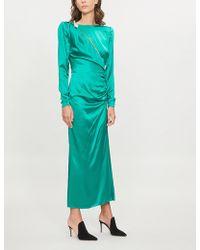 Alessandra Rich - Slashed Silk-satin Dress - Lyst