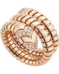 BVLGARI - Serpenti Tubogas 18kt Pink-gold And Diamond Ring - Lyst