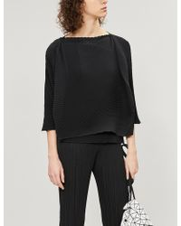 Issey Miyake - Ladies Black Arrow Pleated Top - Lyst
