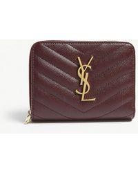 Saint Laurent - Monogram Small Pebbled Leather Purse - Lyst