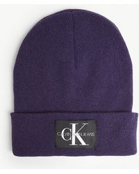 Calvin Klein - Logo Patch Wool Beanie - Lyst