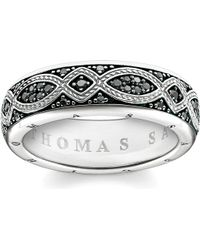 Thomas Sabo - Rebel At Heart Black Pavé Zirconia Promise Ring - Lyst