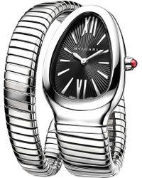 BVLGARI - Serpenti Tubogas Steel And Rubellite Watch - Lyst