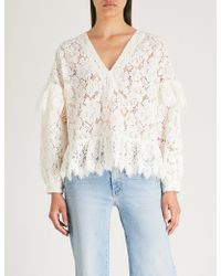Ganni - Jerome Flared Lace Blouse - Lyst