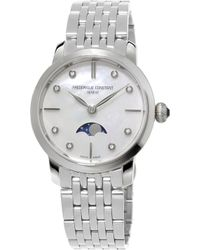 Frederique Constant - Fc-206mpwd1sd6b Slinline Moonphase Stainless Steel And Diamond Watch - Lyst