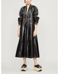 Loewe - Embroidered Smocked Leather Maxi Dress - Lyst