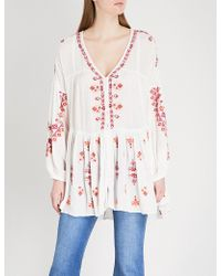 Free People - Arianna Embroidered Woven Top - Lyst