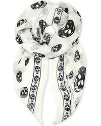 Alexander McQueen - Skull-print Silk-chiffon Scarf - Lyst