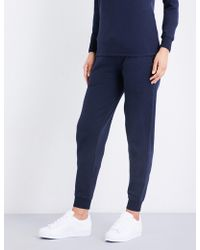 Sunspel - Ladies Navy Ultra Light Relaxed-fit Cotton-jersey Jogging Bottoms - Lyst