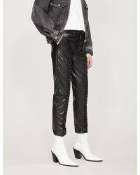 The Kooples - Lace-detail Faux-leather Trousers - Lyst
