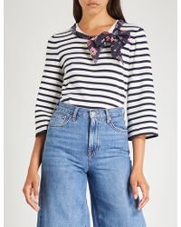 Claudie Pierlot - Malice Striped Scarf-detail Cotton T-shirt - Lyst