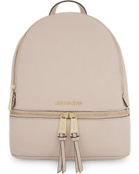 72fb4334fa1c Lyst - MICHAEL Michael Kors Rhea Medium Leather Backpack in Natural