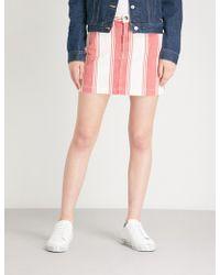 FRAME - Le Mini Striped Denim Skirt - Lyst