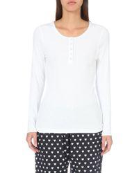 The White Company - Scalloped-trim Jersey Pyjama Top - Lyst