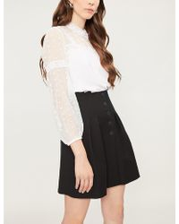 Sandro - Ruffled-collar Lace And Crepe Top - Lyst