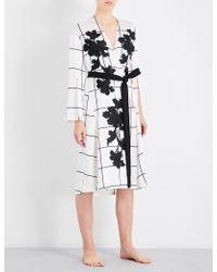 Aimee Kestenberg - Grid-pattern Floral-embroidered Silk-satin Robe - Lyst