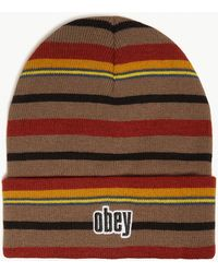 Obey - Highland Striped Knitted Beanie - Lyst