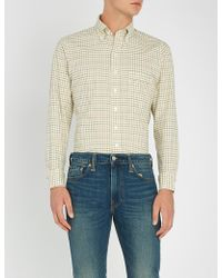 Drake's - Gingham Checked Slim-fit Cotton Shirt - Lyst