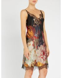 Carine Gilson - Floral-print Silk-satin And Lace Nightdress - Lyst