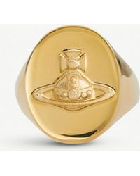 Vivienne Westwood - Logo Seal Gold-toned Signet Ring - Lyst