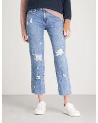 PAIGE - Noella Raw-hem Straight Mid-rise Jeans - Lyst