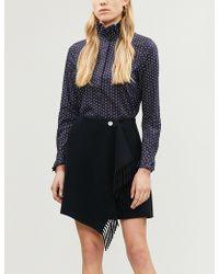 Claudie Pierlot - Saline Fringe-trimmed Wool-blend Skirt - Lyst