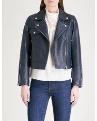 Claudie Pierlot - Biker-collar Cropped Leather Jacket - Lyst