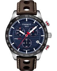 Tissot - T100.417.16.041.00 V8 Stainless Steel And Leather Chronograph Watch - Lyst